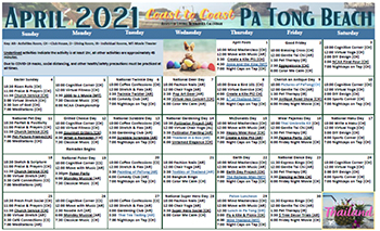 Assisted Living April 2021 Calendar