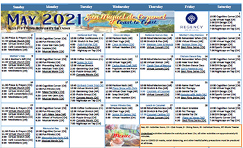 May Assisted Living Calendar