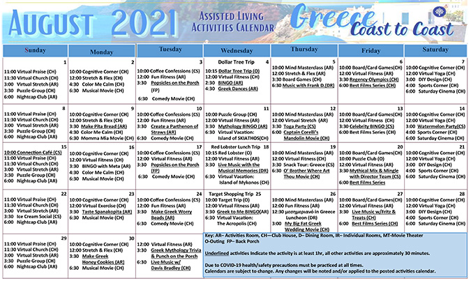 August Assisted Living Calendar