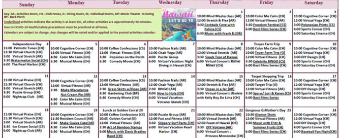 Assisted Living July Calendar