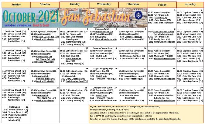 October 2021 Calendar Preview