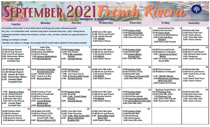 Memory Care September Calendar